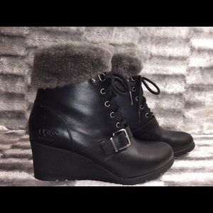 426f320d185 Women Ugg Leather Wedge Boots on Poshmark